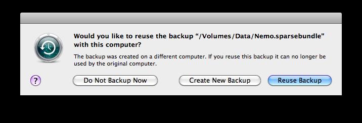 Reuse Backup Dialog